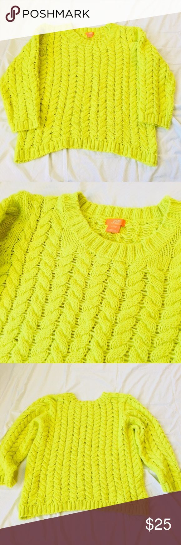 Joe Fresh Sweater ✨ worn once - like new! ✨ bright neon yellow fluffy sweater from Joe Fresh - very cozy! Joe Fresh Sweaters Crew & Scoop Necks