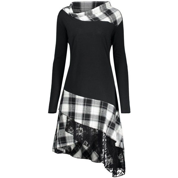 Black White XL Plaid Lace Panel Plus Size Long Top ($13) ❤ liked on Polyvore featuring tops, lace inset top, plaid top, womens plus size tops, long tops and tartan top