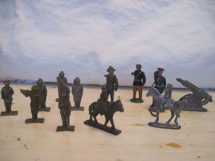 A personal favorite from my Etsy shop https://www.etsy.com/listing/491489144/lot-of-12-military-toy-lead-soldiers