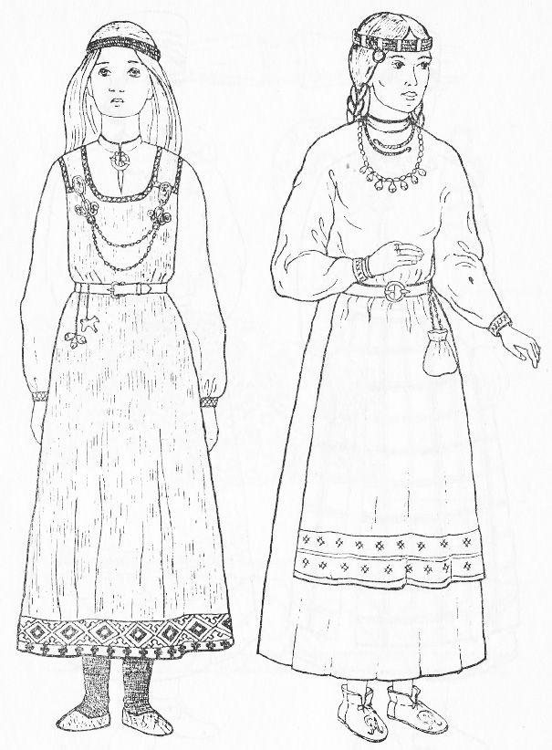 Slavic costumes - Belarus, 11th-12th centuries
