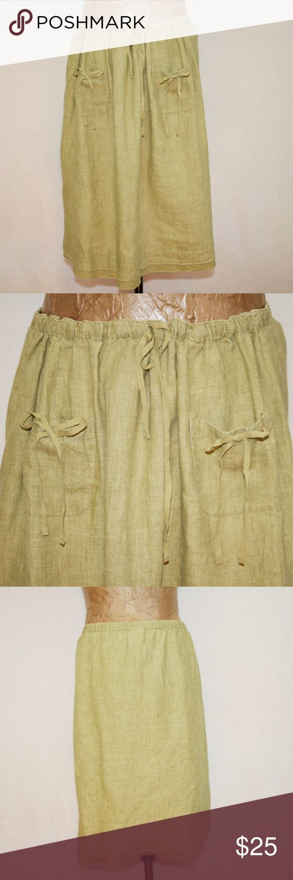 J. Jill Olive Linen Peasant Skirt Elastic in back, but draw string in front that only tightens up the front. Has matching draw string on 2 front pockets. Cute hem with a hint at an under layer. 100% Linen.  Skirt is 38 inches laying flat and with minimal gathering of drawstring, or stretch on elastic.  Length of skirt is 25 inches.  (0930) J. Jill Skirts Midi