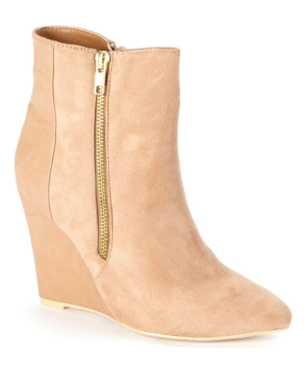 Look at this Jacobies Footwear Beige Zip-Up Abby Wedge Bootie on #zulily today!