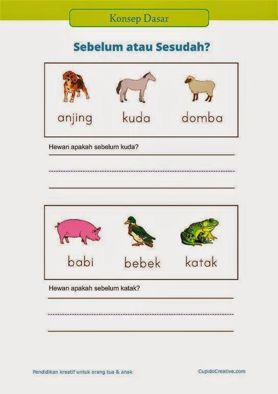"""belajar anak PAUD (TK/SD kelas 1) : konsep dasar tentang """"sesudah"""" dan """"sebelum"""" menggunakan gambar hewan"""