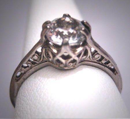 Great Antique White Sapphire Wedding Ring Vintage Art Deco