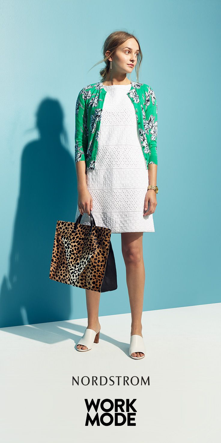 Chic wardrobe essentials for workwear from Nordstrom. Don't be afraid to mix patterns and accessorize! This is a great, playful look with a floral printed cardigan, simple white shift dress, sandals and a statement leopard-print bag.