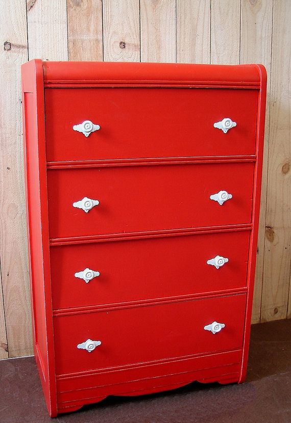 Vintage Art Deco Waterfall Retro Red Paint 4 Dr Chest By  ReclaimedDesignment $204