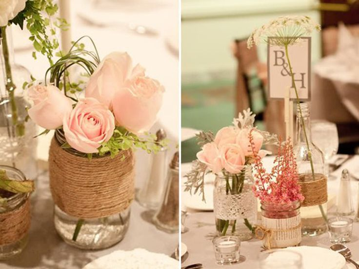 Such perfection! #wedding #events #centerpiece #flowers #rustic #vintage #pink #jars #twine #lace