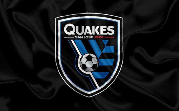 Download imagens San Jose Terremotos FC, Americano Futebol Clube, MLS, Major League Soccer, emblema, logo, seda bandeira, San Jose, Califórnia, EUA, futebol