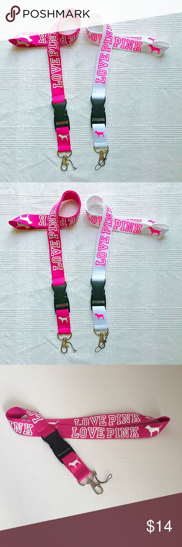 ✨2 LOVE PINK LANYARD✨ 2 NEW PINK lanyard!! Strong clasp and sturdy material! You have the awesome option to turn this lanyard into a super cute keychain! The font is printed in a sharp color and printed in a fabulous font!! PINK Victoria's Secret Accessories
