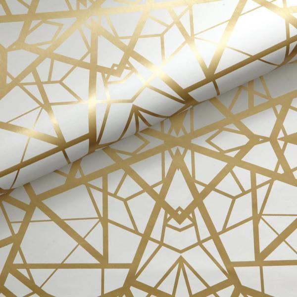 Roommates Shatter Geometric Vinyl Peelable Wallpaper Covers 28 18 Sq Ft Rmk10688wp The Home Depot In 2021 Gold Accent Wallpaper Gold Wallpaper Bathroom Gold Geometric Wallpaper
