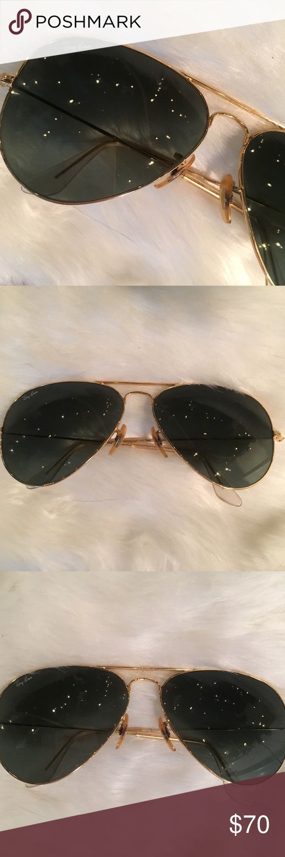 Ray Ban Aviator sunglasses Original Ray ban LARGE aviator sunglasses. Gold frame and green lens. No scratches on lens! Come with Ray ban case Ray-Ban Accessories Sunglasses