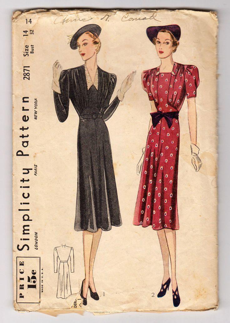 anni trenta semplicità 2871 manca un pezzo vestito con pannelli frontali arricciati e due stili scollatura - dimensioni busto 14 32 - Vintage Sewing Pattern di CircaPatterns su Etsy https://www.etsy.com/it/listing/206490607/anni-trenta-semplicita-2871-manca-un