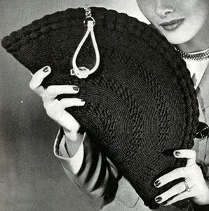 Gimp Bag No. 4808 crochet pattern from Handbags, originally published by Jack Frost Yarn Company, Volume No. 48, from 1945.