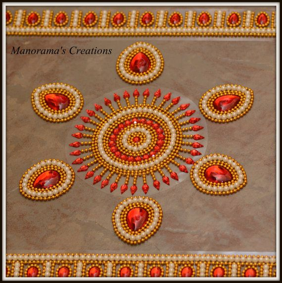 Floor Art - Kundan Rangoli Designs studded with Large Tear Shaped Red Kundan Stones, Lab Synth Glass Pearls and Gold Plated Bead Liners!
