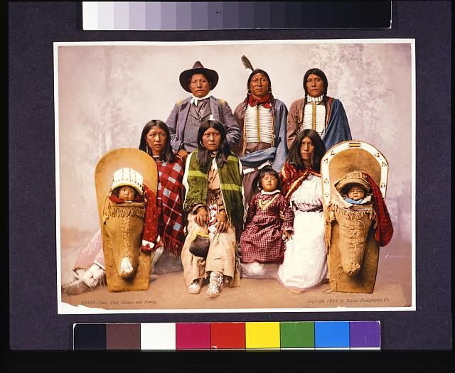 Utes--Chief Sevara [i.e., Severo] and family. C1899. Library of Congress Prints and Photographs Division.