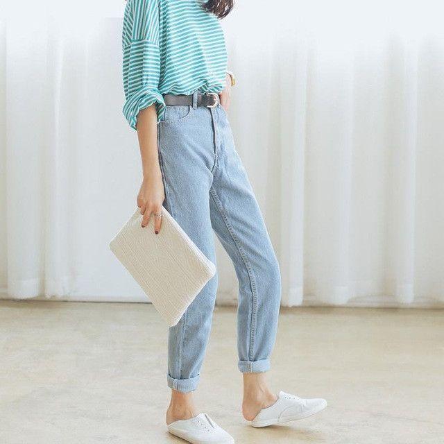 High Waist Jeans 2017 Autumn Waisted Baggy Jeans Woman High Quality Boyfriend Jeans For Women