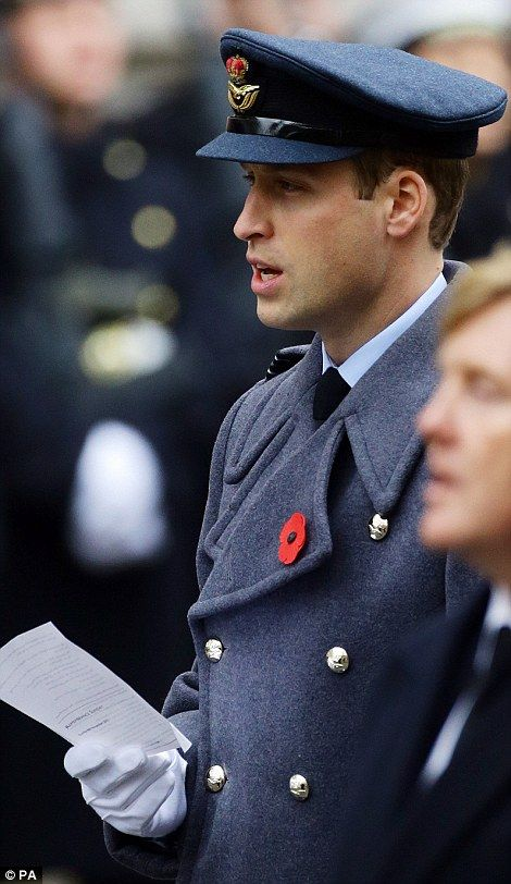 The Duke of Cambridge stands during the annual Remembrance Sunday service