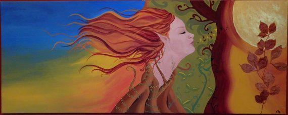 """Dipinto su tela - """"Autunno elfico"""" - pittura acrilica e applicazione di foglie autunnali"""