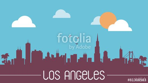 Vecteur : Los Angeles USA skyline silhouette flat design vector