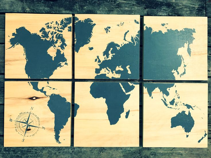 24x36 world map screen printed with grey stain by CreationsSauvages on Etsy