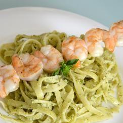 Camelina Pesto Pasta with Shrimp