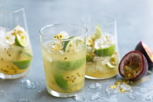 Australia might miss out on a cold Christmas, but our hot summer days mean that plenty of ice is a must when sipping this passionfruit and lime cooler.