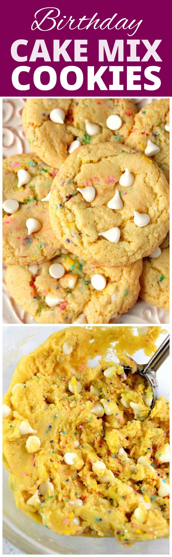 Birthday Cake Mix Cookies recipe - each cookie tastes like a slice of cake and white chocolate chips taste like vanilla frosting! You will love these cake mix cookies made with butter instead of oil.