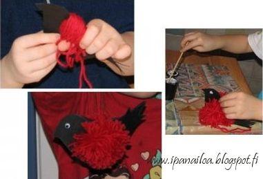 askartelua: eläimet, punatulkku, lanka, pistely, tupsu  http://ipanaaskartelua.blogspot.fi/2009/07/lankapunatulkku.html
