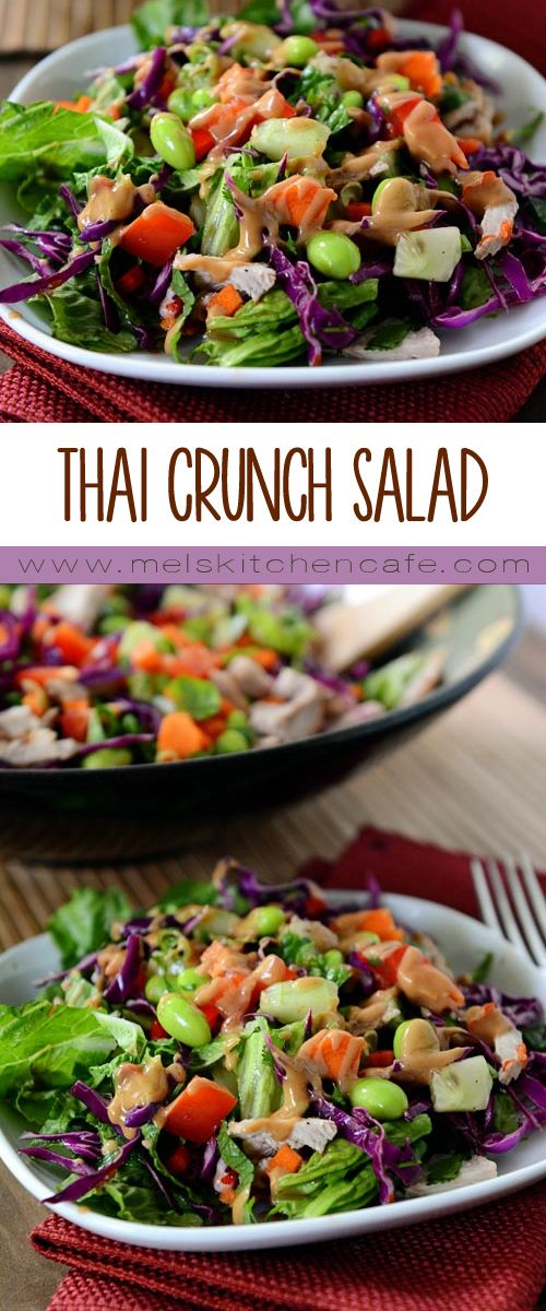 This Thai crunch salad is crazy good. Every bite is filled with flavor, texture and crunch.