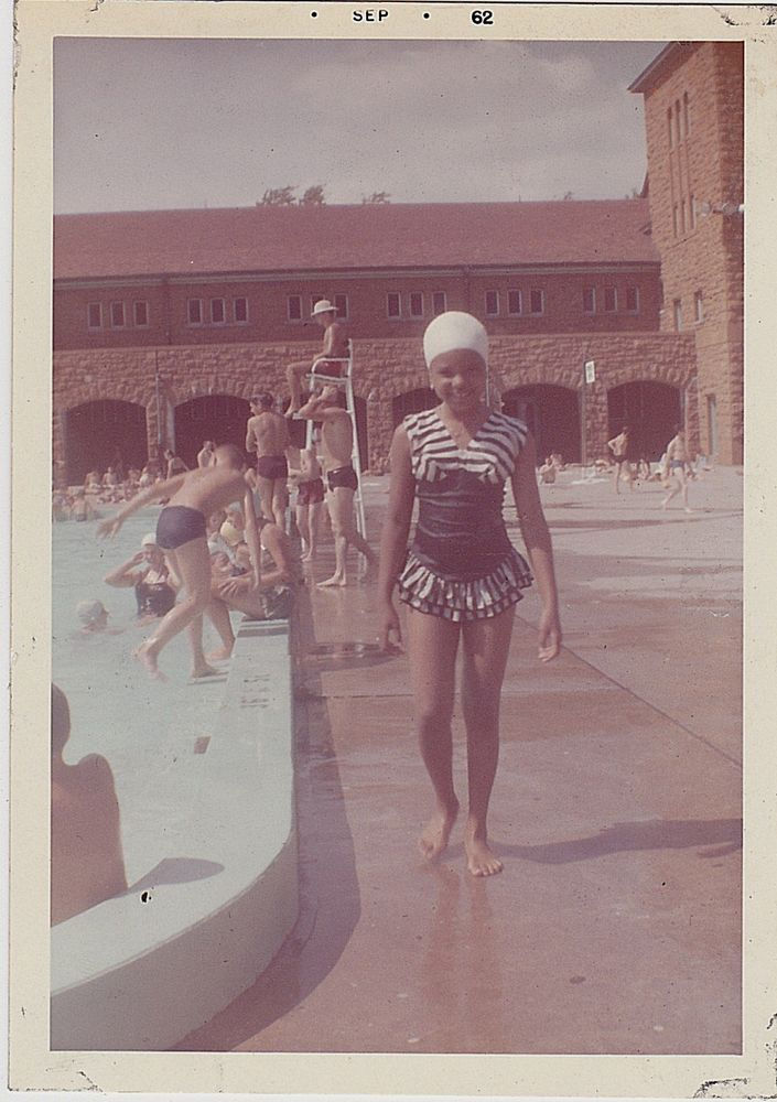 Antique Photograph Cute African American Girl in Bathing Suit & Cap By Pool 1962