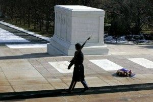 Some tourists felt like chucklin' it up at the Tomb of the Unknown Soldier and the Marine on duty steps out and shames them somethin' fierce. My father is a veteran and I get very angry when those that put their lives on the line for our freedom are not given the respect they deserve [...]