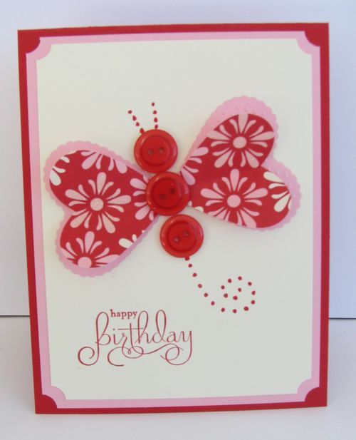 Great idea to make butterflies out of hearts and buttons by JillStampongWithInk