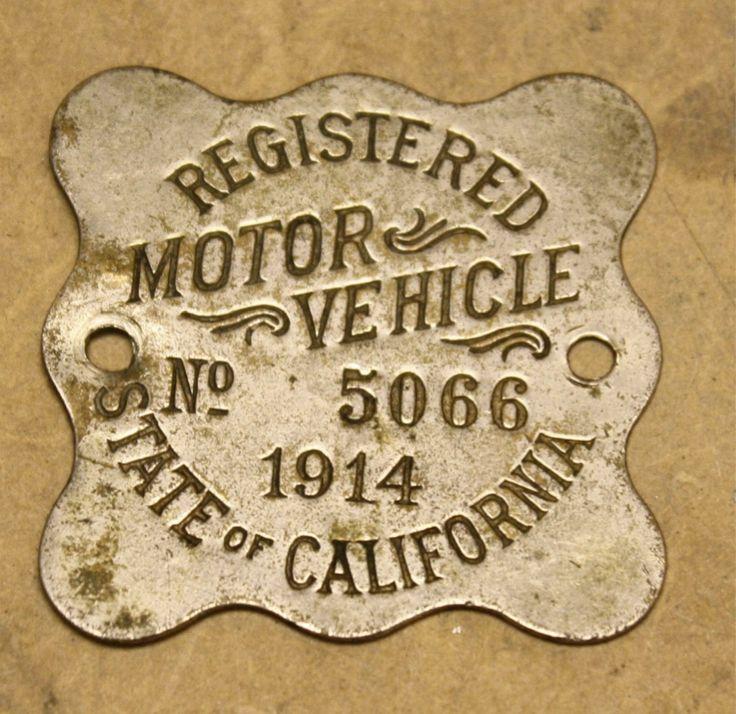 Vintage California Porcelain Pair License Plates Tags 1914