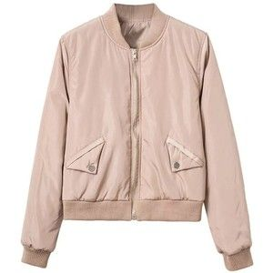 Khaki Zip Up Bomber Jacket