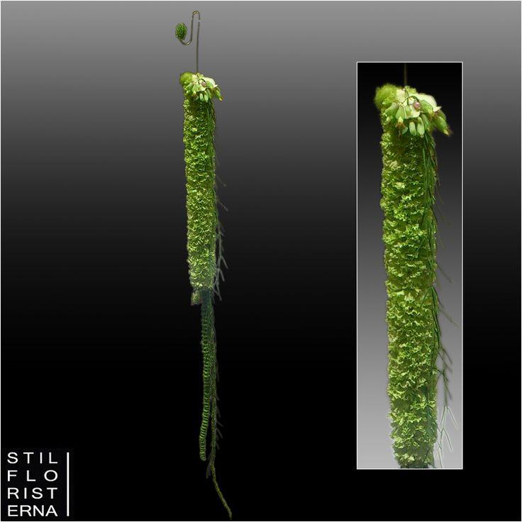 Annorlunda och nyskapande brudbukett med helgröna blommor, med en grund av nejlikor och Santini.