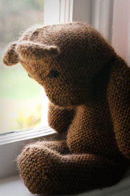 knitted teddy bear //@Coty Budd, this looks just like the one you made for Henry! We treasure it...