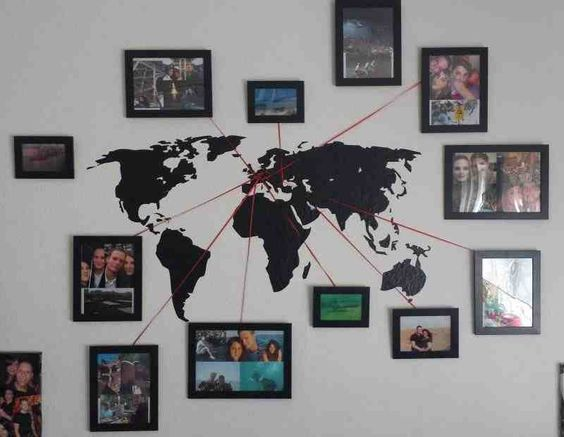 Vacation Memory Photo Map-This is a cool way to document your travels. You could also do this with a framed Push Pin Travel Map.