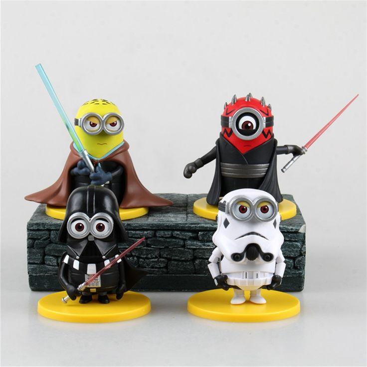 39.16$  Buy here - https://alitems.com/g/1e8d114494b01f4c715516525dc3e8/?i=5&ulp=https%3A%2F%2Fwww.aliexpress.com%2Fitem%2FStar-War-Toy-Set-4PCS-set-Minions-toys-yellow-doll-3D-eyes-peluche-Minion-despicable-me%2F32488085423.html - Star War Toy Set 4PCS/set Minions toys yellow doll 3D eyes peluche Minion despicable me 2 Kid Toys Vinyl Boxed for Gift 0319