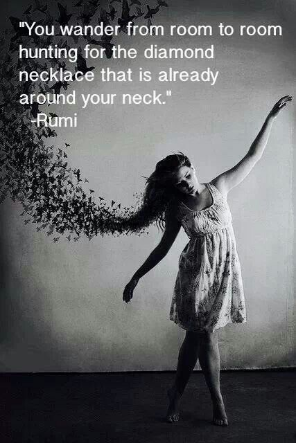 You wander from room to room hunting the diamond necklace that is already around your neck  [You already have what you need] Rumi