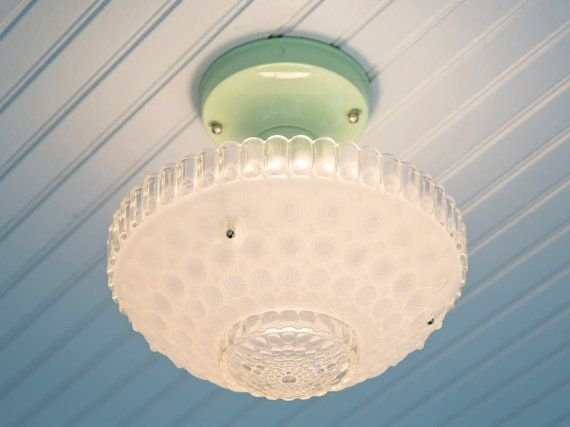 Vintage Rewired Semi Flush Mount Ceiling Light Fixture Mid Century Bubble Glass…