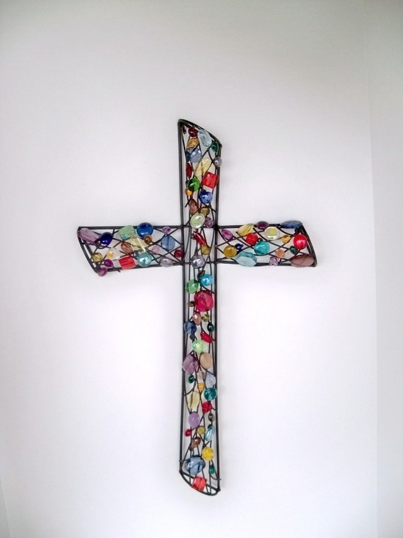 Stained Glass Reflection-Colorful Beaded Wall Cross by CoalCreekCrossing on Etsy.