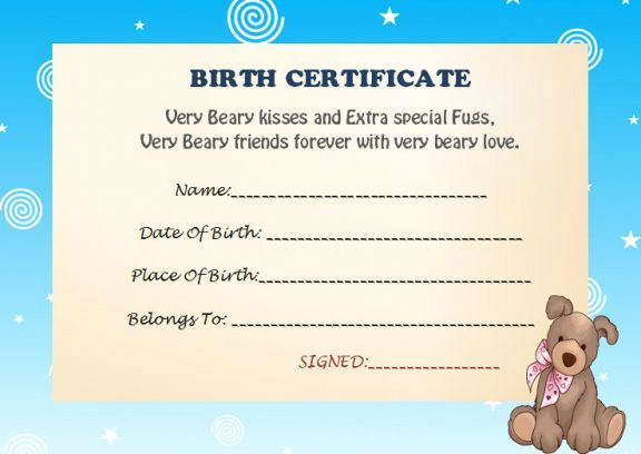 Build A Bear Birth Certificate Build A Bear Certificate Template