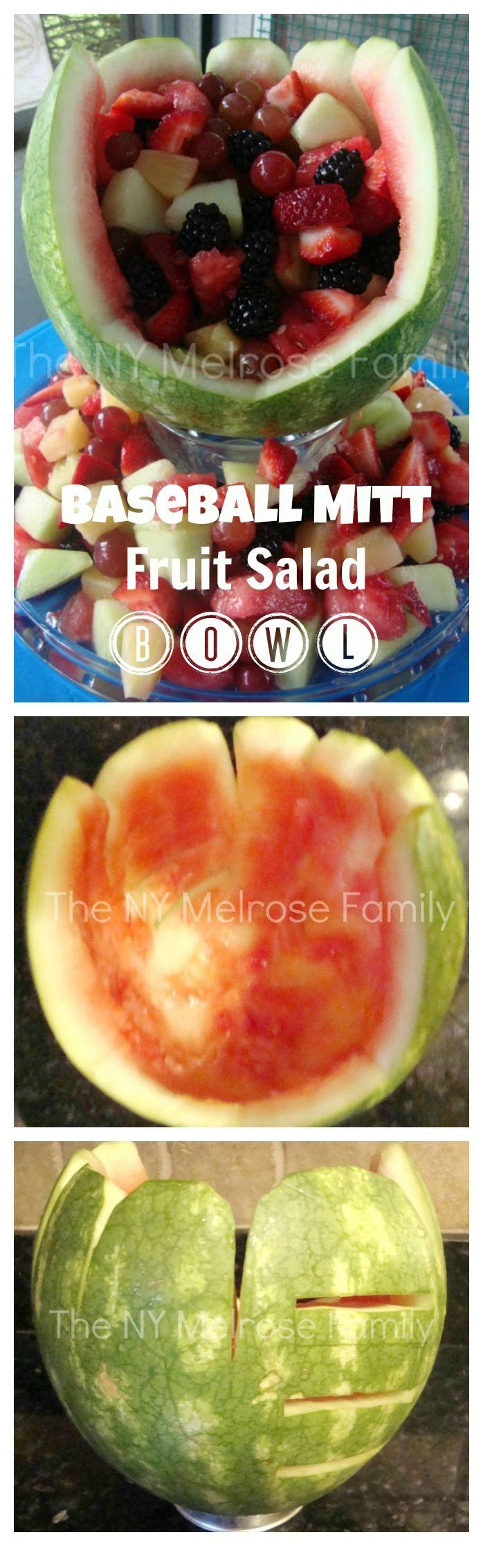 Baseball Mitt Fruit Salad Bowl #fruitsalad