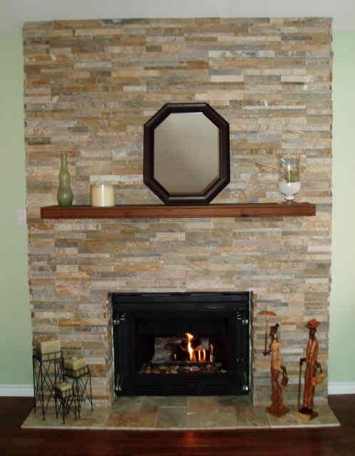 Re faced fireplace for the home pinterest - How to reface a brick fireplace ...