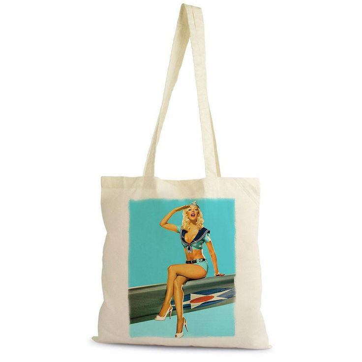 Christina Aguilera Pin-Up Wings Shopping Bag, Natural, Cotton, Gift, Beige