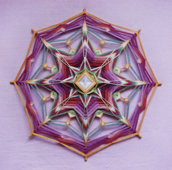 Fairy tale yarn mandala Ojo de Dios 18 inches 46 by JivaMandalas