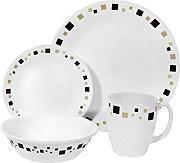 Corelle -  Juego de vajilla de 16 piezas, de vidrio Vitrelle resistente a las roturas y las desportilladuras, modelo Geometric, servicio para 4 personas, color marrón
