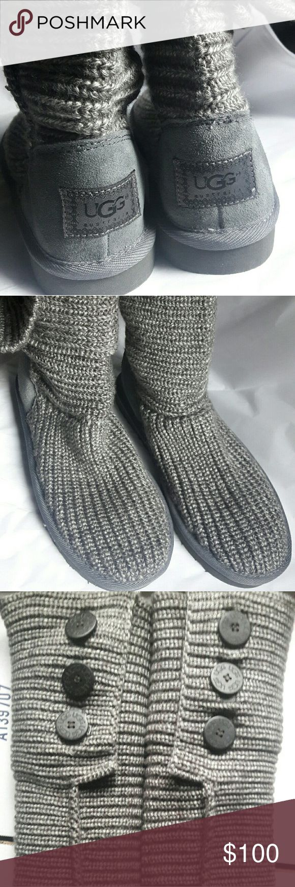 UGG Cardy Talk Knit Gray size 7 NWOT Classic Cardy with a slight stitching issues in pic, no box. UGG Shoes Winter & Rain Boots