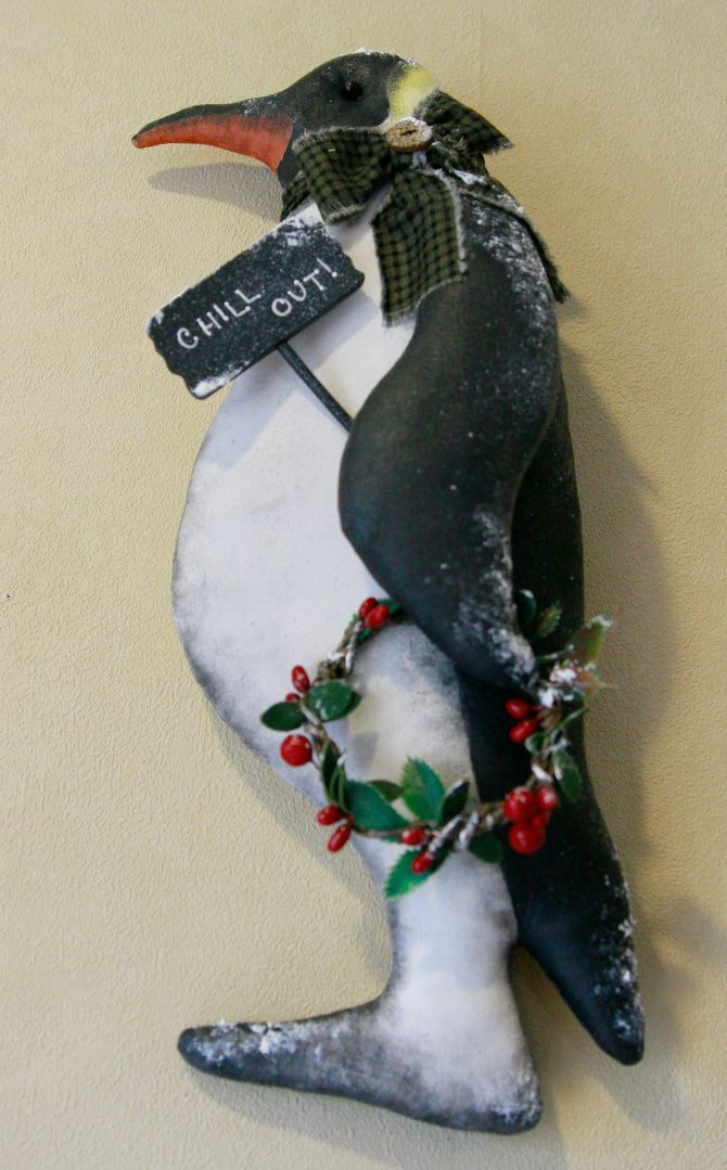 Handpainted Christmas penguin by TheChristmasDen on Etsy