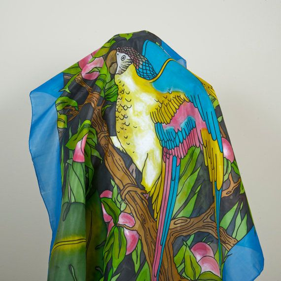 Multicolored parrot. Handpainted Square 100% Silk by Scarfaki